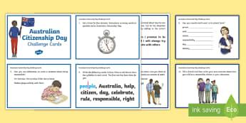 3-4 Australian Citizenship Day Literacy Challenge Cards - Yr 3, Yr 4, Australian Citizenship Day, Australian Events, Literacy, cards, activities ,Australia