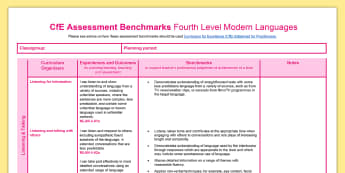 CfE Fourth Level Modern Languages Benchmarks Assessment Tracker - CfE Benchmarks, tracking, assessing, progression, numeracy, literacy, health and wellbeing,Scottish