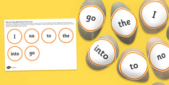 Tricky Words Stone Cut Outs Phase 2 - role play, independent, early years, english, phonice, letters and sounds