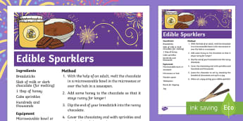 Sparks in the Sky Edible Sparklers Recipe - fireworks, firework night, bonfire night, cooking, KS1, EYFS, Home learning, Parents, Design and Tec