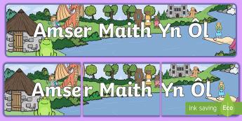 Baner Amser Maith Yn Ôl - un tro, arddangosfa, iaith, stori, ysgrifennu, llythrennedd, once upon a time,Welsh