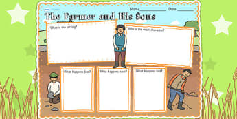 The Farmer and His Sons Book Review Writing Frame - aesops fables