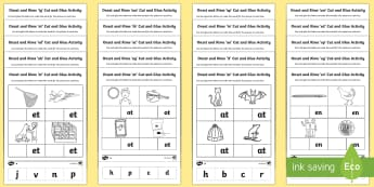 Onset and Rime Cut and Glue Activity Pack - onset, rime, beginning, sound, phonics, blend, initial