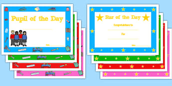 Star of the Day Certificate - star of the day, certificate, reward, award