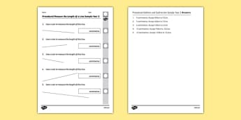 Procedural Measure the Length of a Line Sample Year 2 - welsh, cymraeg, Measuring a line, Procedural Test, Year 2, Wales