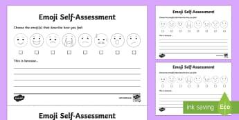 Emoji Self-Assessment Activity Sheet - ks1 self assessment, ks1 feelings and emotions, ks1 feelings, ks2, ks2 self assessment, self assessm, moji