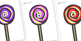Phase 2 Phonemes on Lollipops to Support Teaching on The Very Hungry Caterpillar - Phonemes, phoneme, Phase 2, Phase two, Foundation, Literacy, Letters and Sounds, DfES, display