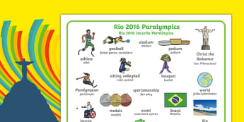 Rio Paralympics 2016 Word Mat Romanian Translation-Romanian-translation