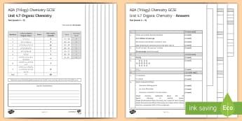AQA Chemistry Unit 4.7 Organic Chemistry Test - KS4 Assessment, Test, organic chemistry, fractional distillation, crude oil, hydrocarbon, hydrocarbo