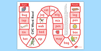 Self-Checking CVC Words Board Game - board game, cvc, self-check