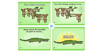 5 Little Monkeys Nursery Rhyme PowerPoint - rhymes, songs