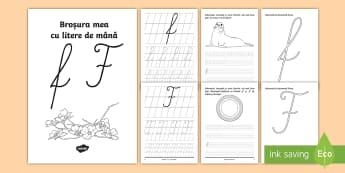 """Scrierea literelor """"f"""" și """"F"""" de mână Broșură cu activități - alfabetul, scriere, litere, de mână, grafisme"""