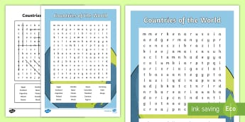 Countries of the World Word Search - CfE Social Studies resources, people place and environment, countries, word search, geography,Scotti