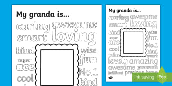 Granda Describing Words and Drawing Colouring Page - grandad, granda, grandfather, grandparent, grandparent's day, my family,Irish