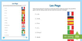 Countries Fill in the Blanks Activity Sheet - French, Countries, KS2, KS1, flags, writing, Europe, travelling, holidays, visiting, foreign, abroad