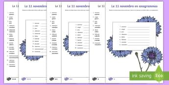 Feuille d'activités : Le 11 novembre en anagrammes - Armistice, 14-18, Première, Guerre, Français, Histoire, Souvenir, Cycle 2, Cycle 3