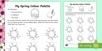 My Spring Colour Palette Activity Sheet - spring, season, colour palette, colours, activity sheet, worksheet, observation,Irish