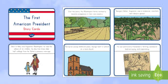 The First American President Story Cards - George Washington, Presidents' Day, usa, united states, american history, bill of rights