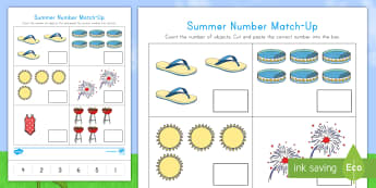 Summer Number Match-Up Activity Sheet - Summer, summer season, first day of summer, summer vacation, summertime, Math, Pre-K, One-to-one cor
