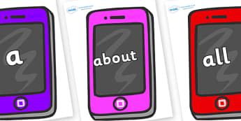 100 High Frequency Words on Mobile Telephones - High frequency words, hfw, DfES Letters and Sounds, Letters and Sounds, display words