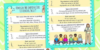 How Can We Improve Our Listening Skills Poster - listen, behave