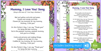 Mummy, I Love You Song - EYFS, Early Years, Key Stage 1, KS1, Mother's Day, Mothering Sunday, Mother, Mummy, Mum, parent, ca
