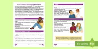 Understanding the Functions of Behaviour Fact Sheet - Functions, Behaviour, Fact sheet, Classroom Management, SEN