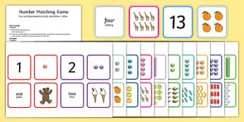 1-20 Number Matching Card Game Polish/English
