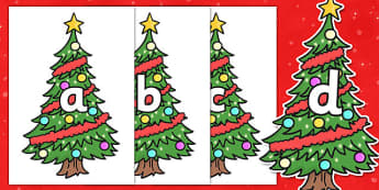A-Z Alphabet on Christmas Trees (Decorated) - Christmas, xmas, tree, advent, nativity, santa, father christmas, Jesus, tree, stocking, present, activity, cracker, angel, snowman, advent , bauble, A-Z,  Alphabet frieze, Display letters, Letter posters