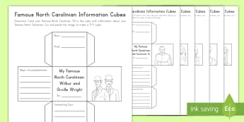 Famous North Carolinians Information Cube Activity - United States History, State history, North Carolina, Dale Earnhardt, Sugar Ray Leonard, Thelonious