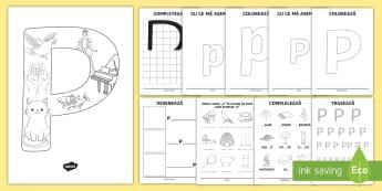 Consolidarea literei P Broșură - alfabetul, alfabetar, litere, sunete, grafisme,Romanian