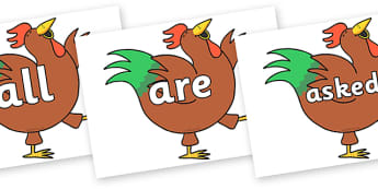 Tricky Words on Hullabaloo Rooster to Support Teaching on Farmyard Hullabaloo - Tricky words, DfES Letters and Sounds, Letters and sounds, display, words