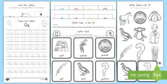 Letter Q Activity Pack - Alphabet Packets, Letter Q, Letter Formation, Letter Identification, Beginning Sounds, Handwriting,