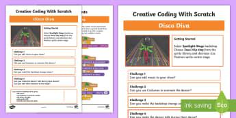 Disco Diva Scratch Activity Sheet - worksheet, computing, programming, coding, algorithms, instructions, commands, Scratch