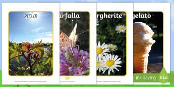 L'estate foto Poster - estate, foto, poster, esibizione, vocaboli, leggere, italiano, italian, elementari, stagioni, materi