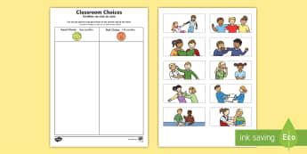 Classroom Choices Cutting Skills Activity Sheet English/Portuguese - Back to School, good choices, poor choices, cutting, first day of school, fine motor, worksheet, act