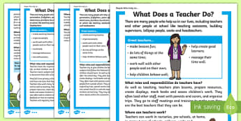 What Does a Teacher Do? Differentiated Fact File, worksheet