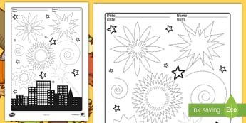 Firework Sky Pencil Control Activity Sheets English/French - firework, fireworks, pencil control, dexterity, activity sheet, EAL French,Worksheets