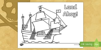 Land Ahoy! Pirate Ship Colouring Page - pirate, ahoy, jolly roger, ship, boat, colour,