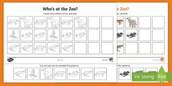 Who's at the Zoo? Complete the Patterns Activity Sheets - exploring my world, aistear, story, zoo, literacy, oral language, reading, animals, tiger, elephant,