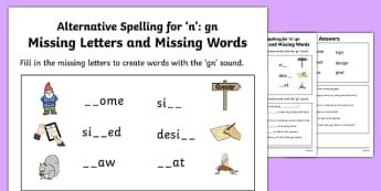 Gn Grapheme Missing Words Phase 5 Alternative Spelling Activity Sheet, worksheet