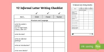 Year 2 Informal Letter Writing Checklist - Y2, checklists, checklists, assessment, self-assessment, peer-assessment