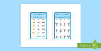 Year 2 Common Exception Words, Days, Months and Numbers IKEA Tolsby Frame - Year 2 Common Exception Words, Days, Months and Numbers IKEA Tolsby Frame  - days, months, numbers,