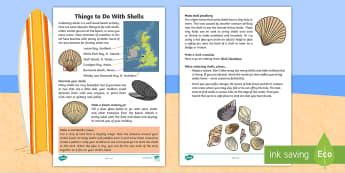 Things to Do With Shells Activity Sheet - Worksheet, beach, craft, art, activity, holidays, family