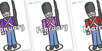 Months of the Year on Toy Soldiers - Months of the Year, Months poster, Months display, display, poster, frieze, Months, month, January, February, March, April, May, June, July, August, September