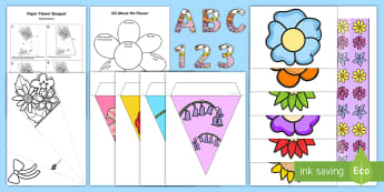 All about Me Flower Display Pack - ourselves, transition, new class, EYFS, Year 1, Year 2,