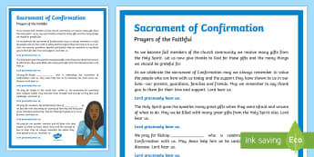 Sacrament of Confirmation Prayers of the Faithful Print-Out-Irish - Prayers of the Faithful, ROI, Ireland, sacrament, Confirmation, Roman Catholic, prayer service, asse