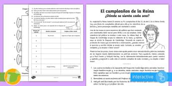 El cumpleaños de la Reina  - problemas matemáticos, majestad, mesas, Lógica, resolver,Spanish,Worksheet