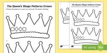 The Queen's Shape Patterns Crown Activity Sheet - worksheet, numeracy, maths, sequence, continue a pattern, colouring, crown