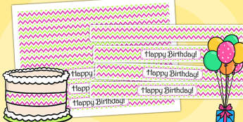 Zig Zag Birthday Party Cake Ribbon Pink And Green - birthdays